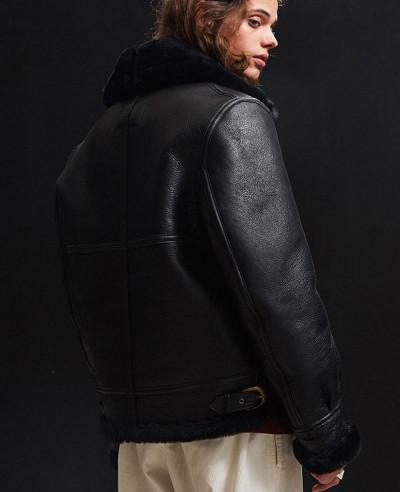 Men Fur Sheepskin Bomber Leather Jacket