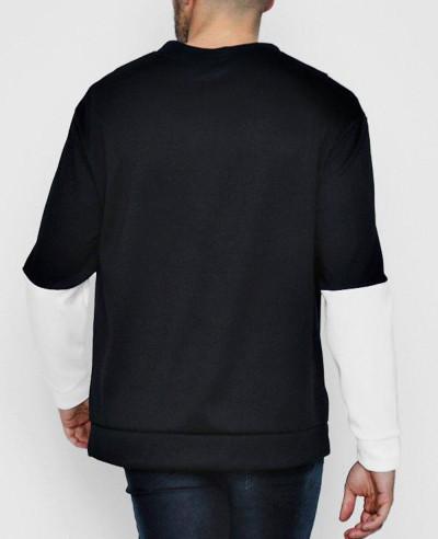 Men High Quality Custom Loose Fit Chevron Colour Block Sweatshirt