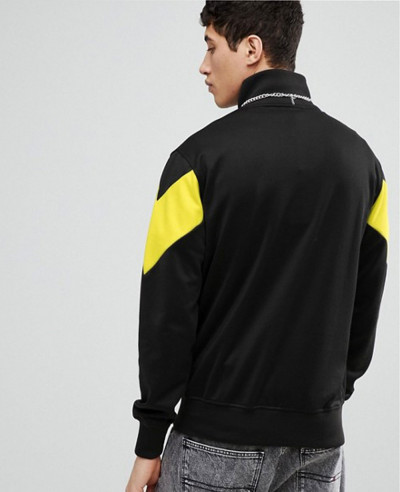 Men High Quality Half Zipper Sweatshirt With Chevron Panel In Black
