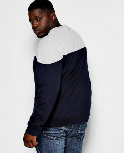Men Hot Selling Big And Tall Colour Block Sweatshirt