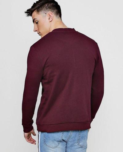 Men Hot Selling Custom Fashion Burgundy Jersey Bomber Sweatshirt Jacket
