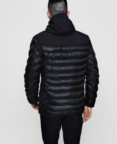 Men Hot Selling Custom Hooded Puffer With Sports Rib Tape