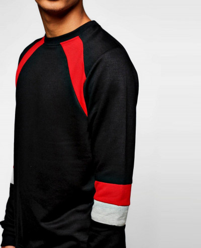 Men Hot Selling Raglan Sleeve Colour Block Raglan Sweatshirt
