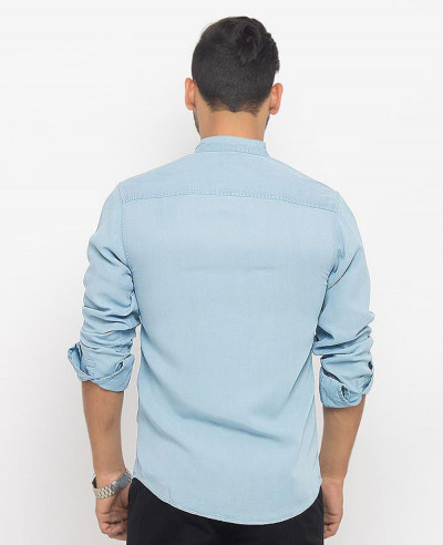 Men Ice Blue Super Soft Tencel Denim Shirt with Metal Buttons