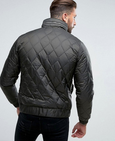 Men khaki Quilted Black Jacket