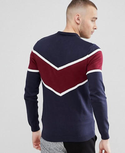 Men Knitted Polo With Chevron Design Polo Shirt
