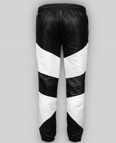 Men Leather Pants Slim Fit Stylish Color Block High Custom Motorcycle