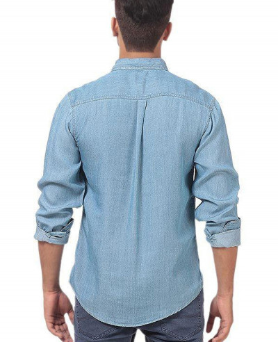 Men Lite Denim Pre Washed Shirt With Dark Patch Pocket