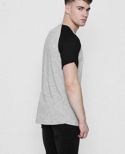 Men Longline Raglan Knitted Grey T Shirt