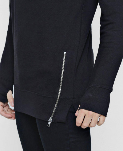 Men Longline Sweater With Zipper Detail Sweatshirt