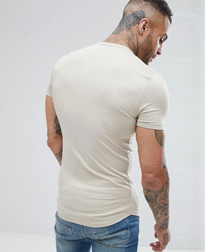 Men Muscle Fit With Grandad Neck In Beige T Shirt