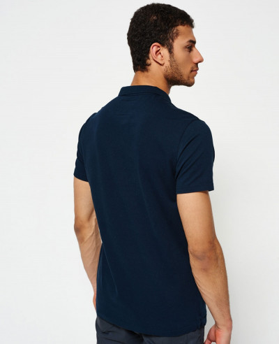 Men Navy Blue Zipper Polo Shirt