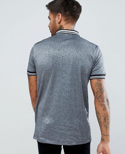 Men New Look In Silver Metallic Fabric With Silver Tipping And Ring Pull Polo Shirt