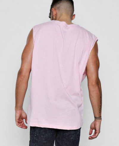 Men Pink Soft Oversized Tank Top