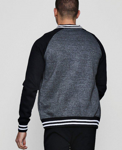 Men-Raglan-Sleeve-Zipper-Colour-Block-Raglan-Jersey-Rib-Bomber-Sweatshirt