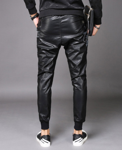 Men Real Leather Bikers Pants