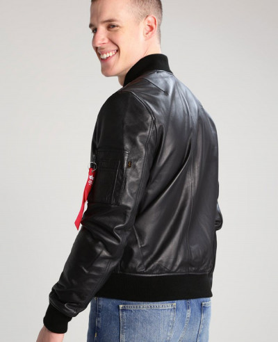 Men Sheep Bomber Biker Leather Jacket