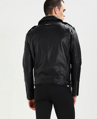 Men Short Biker Real Leather Jacket