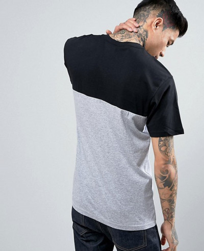 Men-Short-Sleeve-Custom-Colour-Block-T-Shirt-In-Grey