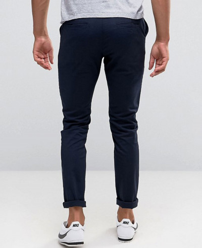 Men Skinny Chinos In Black & Navy Trouser