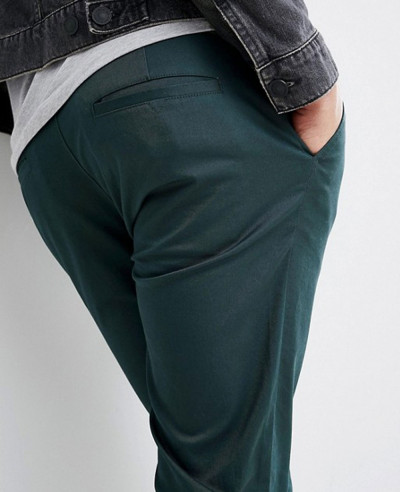 Men Skinny Chinos In Bottle Green Trouser