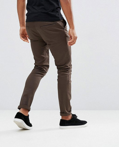 Men Skinny Chinos In Brown Trouser