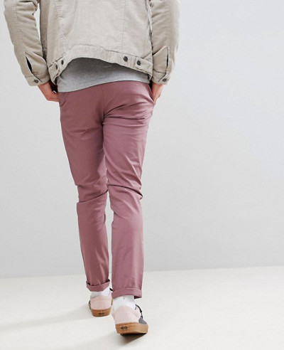 Men Skinny Chinos In Purple Taupe Trouser