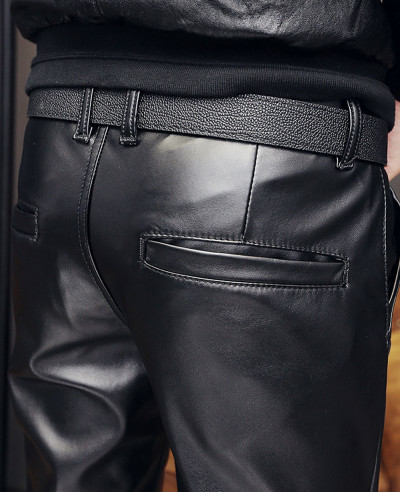 Men-Skinny-Faux-Leather-Pants-Pleated-Casual-Long