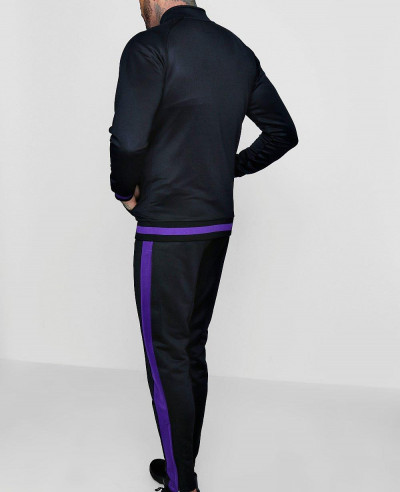 Men Skinny Fit Funnel Neck Sports Tracksuit