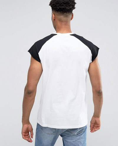 Men Sleeveless With Raw Edge And Contrast Raglan In White Black Tank Top