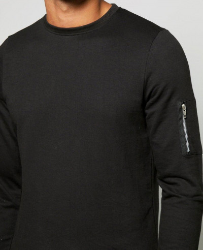 Men Slim Fit Black Crew Neck Sweatshirt