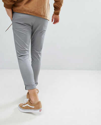 Men Super Skinny Cropped Chinos In Grey Trouser