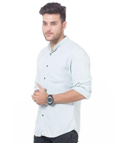 Men-Very-Light-Green-Super-Soft-Tencel-Denim-Shirt-with-Metal-Button