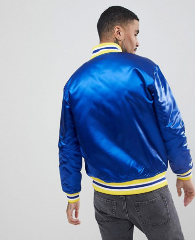 Men Zipper Golden State Warriors Satin Varsity Jacket