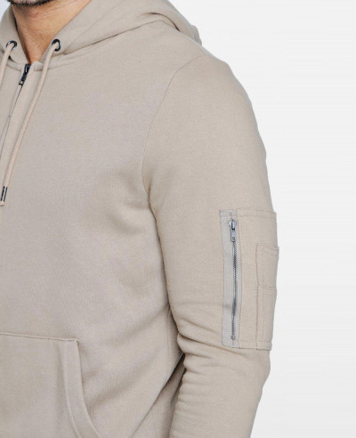 Men Zipper Through Hoodie