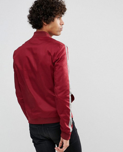 Muscle-Fit-Bomber-Jacket-With-Side-Stripe-in-Red