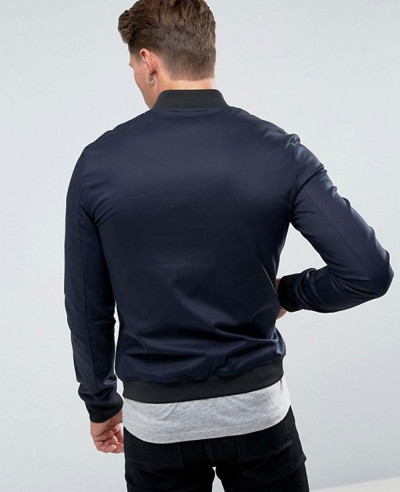 Muscle Fit Bomber Jacket With Sleeve Zipper in Navy