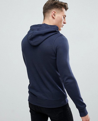 Muscle Fit Hoodie With Zip Pockets In Navy