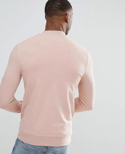 Muscle Fit Jersey Bomber Jacket In Pink With Pocket