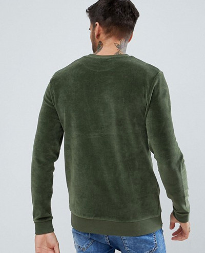 Muscle Fit Sweatshirt In Green Velour