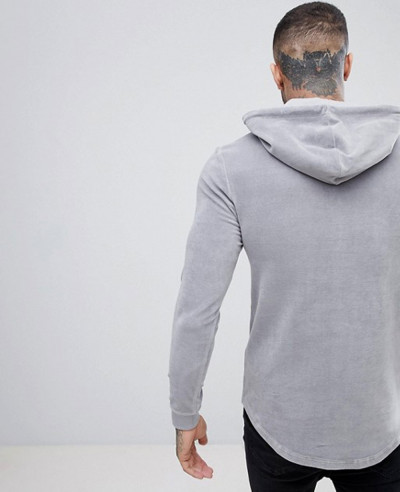 Muscle Hoodie In Grey Velour With Curved Hem