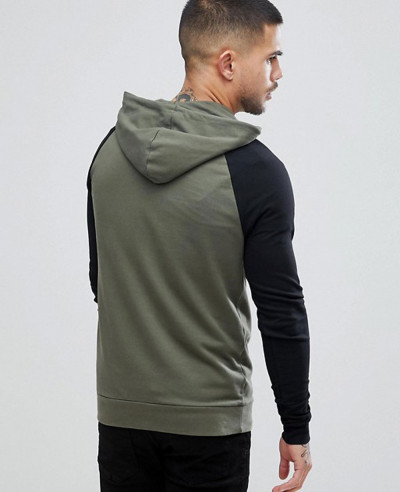 Muscle Hoodie With Contrast Raglan Sleeve In Khaki And Black