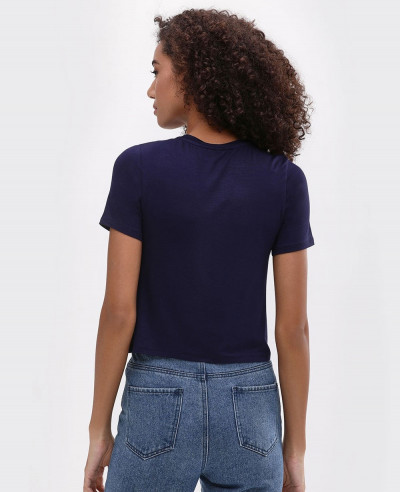 Navy Blue Basic Crop Top Tee