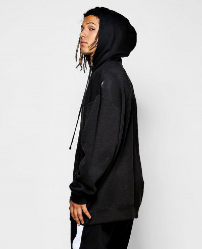 Navy Blue Oversized Hoodie with Elongated Drawcord