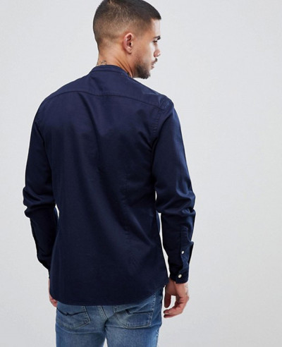 Navy Blue Stretch Slim Denim Shirt With Grandad Collar