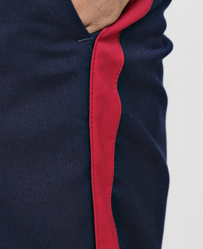 Navy Blue Stylish Cropped Tapped Detail Trouser