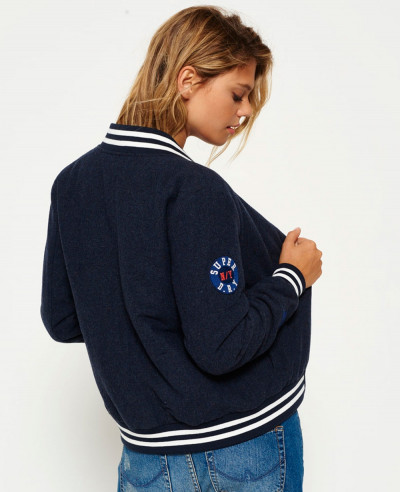 Navy Blue Wool Fashion Varsity Bomber Jacket