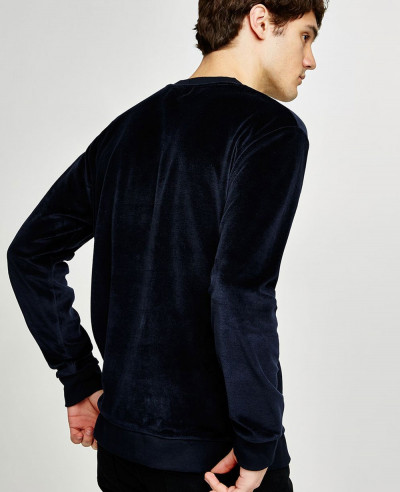 Navy Velour Sweatshirt