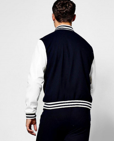 Navy Wool Look Varsity Bomber Jacket