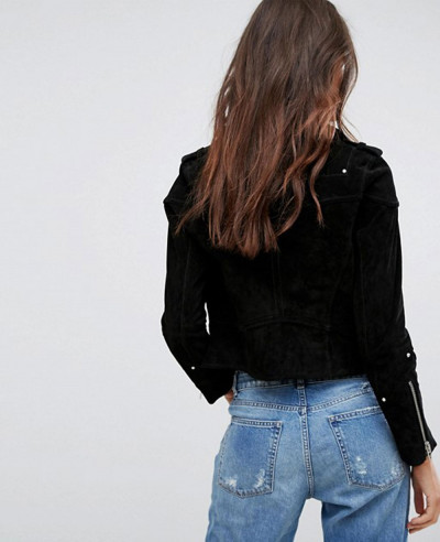 New Blank Plain Suede Biker Leather Jacket